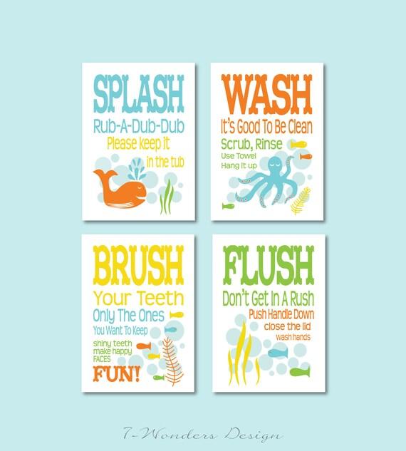 Items Similar To Diy Childrens Kids Bathroom Art Prints