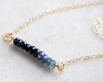 Blue Sapphire Ombré Necklace, Blue Sapphire Gold Necklace, September Birthstone, September Birthday Necklace, Sapphire Necklace
