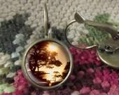 Sunset Earrings, Tree Earrings/Jewelry, Image Jewelry, Earrings Gift, Gift, Earring Gift