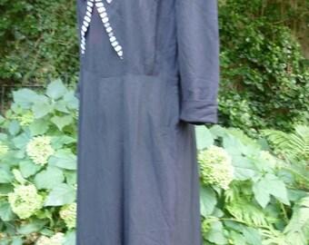 40's Dress Navy Blue Rayon Day Dress with Rhinestone Buttons WWII Era Fashions