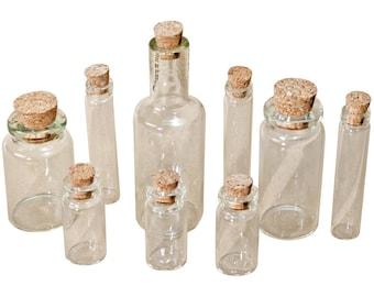 "Idea-Ology Corked Glass Vials 1.25"" To 3"" 9/Pkg by Tim Holtz"