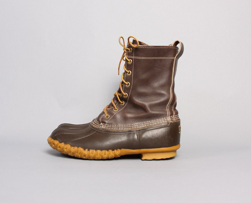 70s LL BEAN Hunting BOOTS / Maine Hunting Shoe Lace-Up Duck