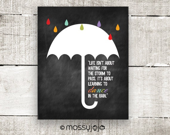 Wall Art Quotes Dance In The Rain : Inspirational quote dance in the rain typography wall by