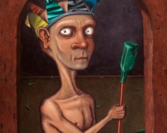 Lowbrow Pop Surrealism original painting by Pete Gorski titled: King of Beers