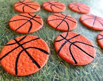 12 Fondant edible cupcake/cookie toppers - Basketballs, sport themed event, baseball, football, soccerball,fondant basketball,birthday party