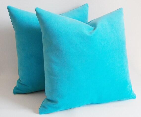 SET 2/Turquoise Velvet pillow Decorative pillowThrow