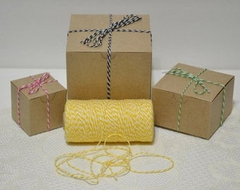 240 yards full spool Bakers twine bright yellow/white 4ply cotton for tags packaging scrapbooking cards banners clearance sale