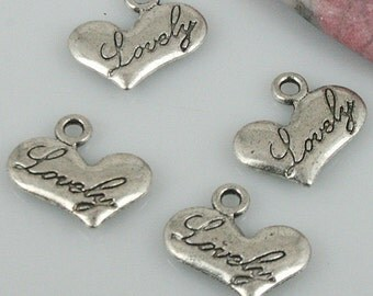 36pcs tibetan silver color heart shaped Lovely style charms EF0458
