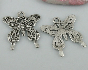 18pcs tibetan silver color butterfly charms EF0506