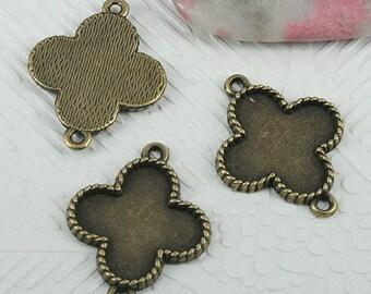 22pcs antiqued bronze color cross shaped cabochon settings EF0602