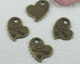 50pcs antiqued bronze color heart shaped Love charms EF0633