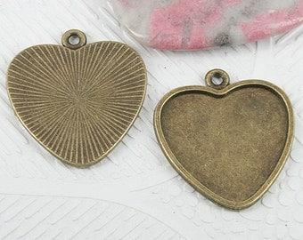 10pcs antiqued bronze color heart shaped cabochon setting EF0702