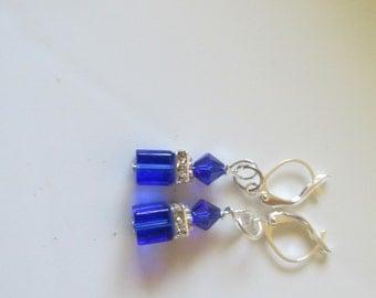 Sapphire Blue Cube Earrings, Swarovski Crystal Cube Earrings