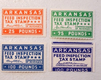 US Lot of 4 Arkansas Feed Inspection Revenue Tax Stamps, 25, 75 & 100 pounds, MNH, mint