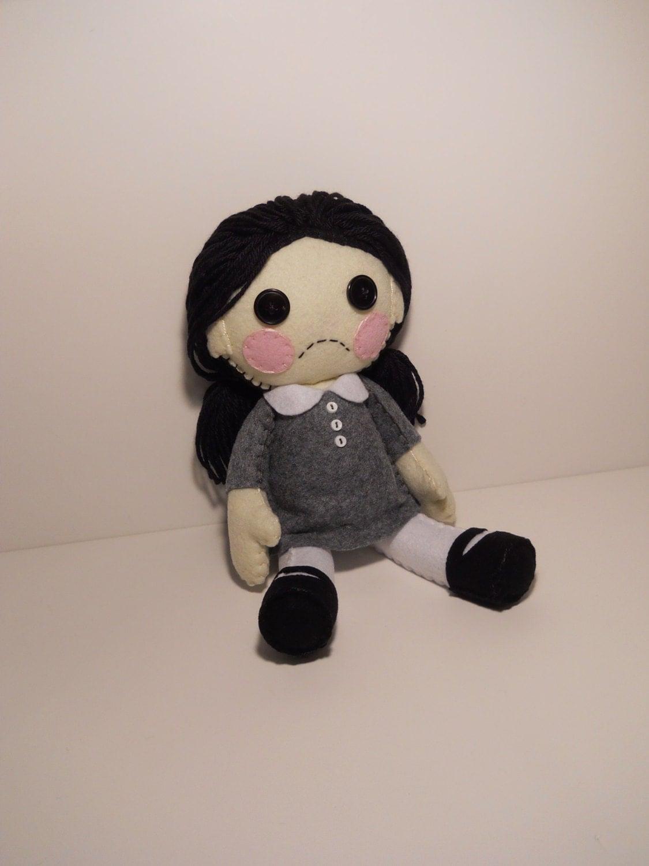 Felt Little Sad Goth Girl Plush Stuffed Rag Doll