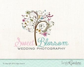 Premade Wedding Photography Logo - Custom Logo - Sweet Blossom Photography - Flowers and a Tree - Bloom - Logo for Photographer