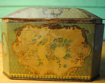 sale tin Rare Barsons of Devon antique candy tin Antique tin Double Lidded octagonal Teal Turquoise blue gold birds and swirls ROMANCE love