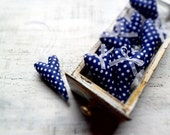Shabby chic hearts polka dot wedding favors wedding decor guest favors rustic bridal shower navy blue white - HandyHappyHearts