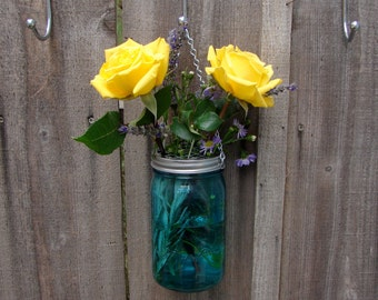 Hand Made Mason jar Hanging Vase With Frog Lid - Teal Color