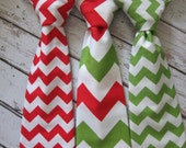 Boys Christmas Neck Tie- Toddler Chevron Neck Tie- Adjustable Velcro Strap- Red, Green Chevron Neck Tie