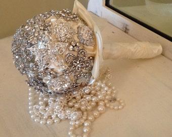 "Custom Brooch Bouquet | Medium 7"" Brooch Bouquet | Bridal Bouquet | Wedding Bouquet | Rhinestone Keepsake Bouquet"