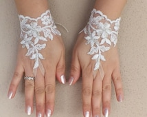 white silver frame  lace gloves free ship bridal cuff fingerless lace gauntlets bridesmaid guantes french lace cuffs