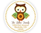 Fall Owl Address Labels -  Orange Polka Dot, Brown Autumn Sunflower Owl Personalized Address Label Stickers - 20 Address Sticker Labels