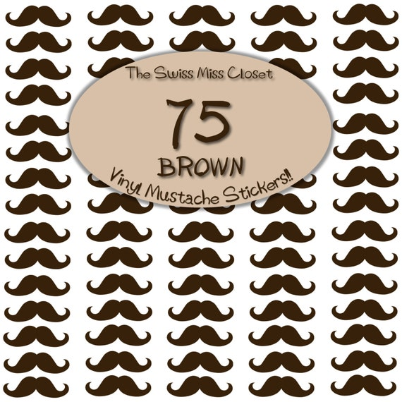 75 2 inch Brown Mustache Stickers Envelope Seals, Party Favors, Party Glasses, Unlimited Possiblities