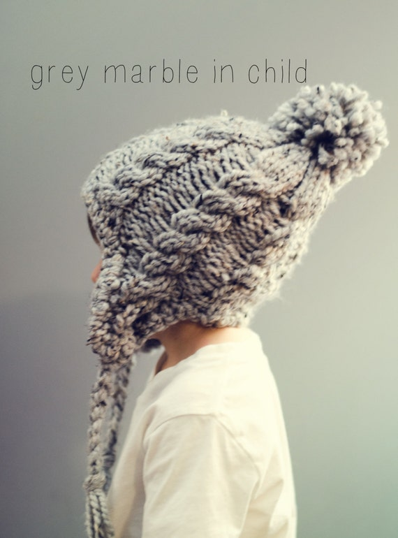 Knitting Pattern For A Beanie With Ear Flaps : Items similar to Cable Hat Chunky Knit Adult Beanie Ear ...
