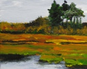 Maine Painting. Parsons Beach Marsh, Kennebunk.. Acrylic on Panel. Landscape. Original Plein Air Art by Kathleen Daughan. .
