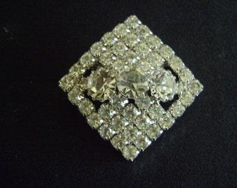 Vintage Diamond Style Brooch with Rhinestones