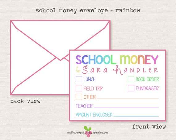 Unlimited Printable School Money Envelope Template DIY