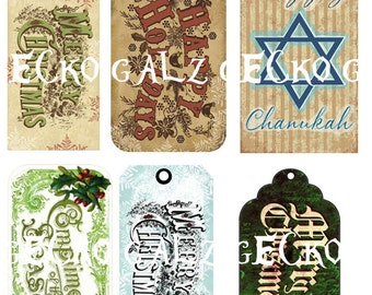Christmas Tags Digital Collage Sheet