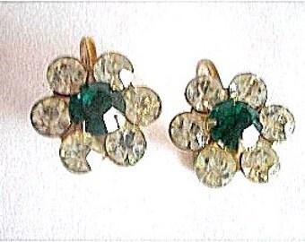 Coro Rhinestone Earrings Emerald Green & Clear 1940s Signed
