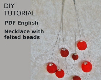PDF Felted bracelet with feltbeads, instruction DIY german / english, detailed tutorial with photos