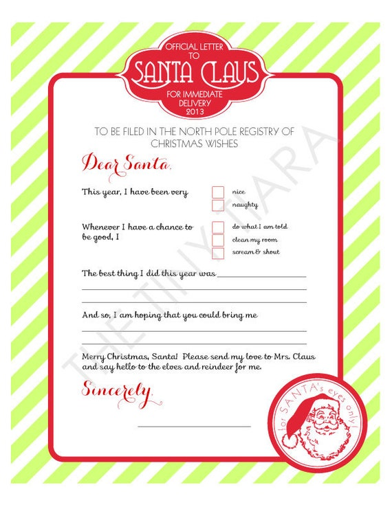 North Pole Printable Letter TO Santa : Printable Party Designs by The ...