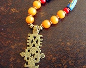 Ethiopian  Cross, amber and trade bead necklace, tribal necklace,  Trade Bead Necklace, brass coptic cross