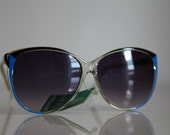Vintage Polaroid Oversized Crystal Black / Blue Frame, Gradient Density Lenses CLASSIC 8751A. Made in Italy