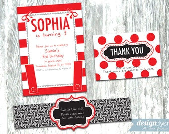 Personalized Olivia the Pig Inspired Printable Invitation Pack
