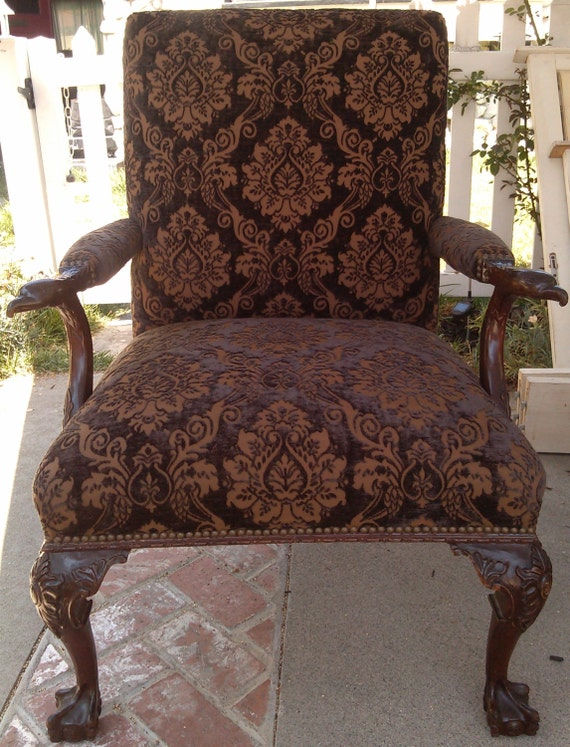 Gothic Steampunk Vintage Bergere Carved Chair