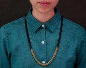 Thin Black dipped in Brass Layering necklace
