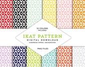 Ikat Pattern Scrapbook Backgrounds (Digital Download)