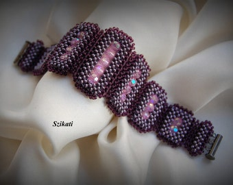 SALE 10% OFF Purple/Pink Statement Beadwoven Bracelet, Right Angle Weave, Women's Beaded High Fashion Jewelry, Accessory, Gift for Her, OOAK