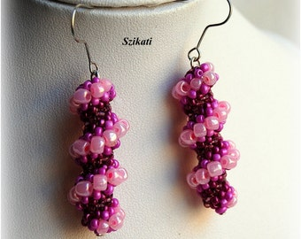 FREE SHIPPING! Purple/Pink Statement Beadwoven Seed Bead Dangle Earrings, Cellini Spiral, Women's Beaded Fashion Jewelry, Gift for Her, OOAK
