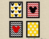 Set of 4 Mickey Mouse Black, White, Yellow & Red Chevron Printable Wall Art