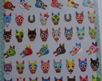 Japan Mind Wave kawaii Good Fortune HORSES Sticker sheet/75314