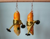 autumn tie up lightweight canvas earrings - handpainted canvas - warm autumn colors