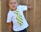 Infant, toddler, boys tie t-shirt/ sewn on tie/ green chevron print-  Sizes NB- Youth Large