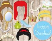 INSTANT DOWNLOAD - PRINCESS Photobooth Props - Printable - Princess Hair, Tiara, Crown, Jewellery, Mirror etc