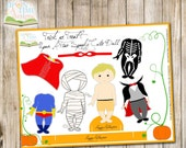 INSTANT DOWNLOAD - Paper Doll Boy - HALLOWEEN - With mummy, Dracula, Superhero, Skeleton